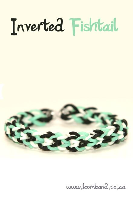 Inverted fishtail loom band bracelet