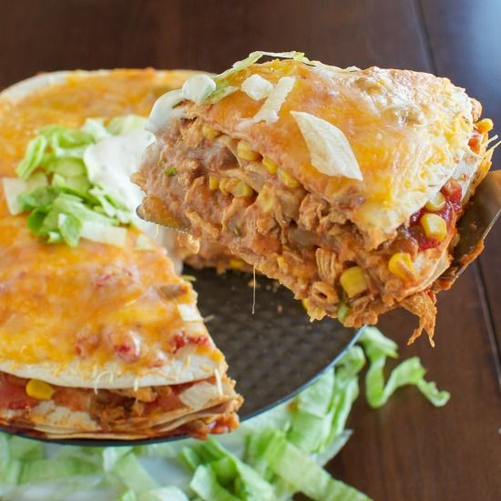 Cheesy Chicken Taco Stacks Tortillas Layered With Chicken Sour Cream Refried Beans Cheese