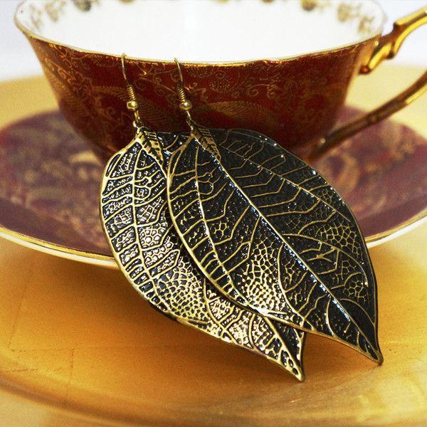 Gorgeous Brass Leaf earrings by Chobhi