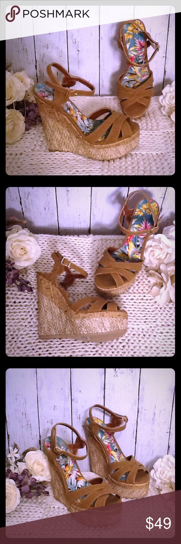 ⚡️FLASHSALE New Altar'd State Wedges Sandal Sz 8.5 Very stylish pair of Altar'd State wedges/sandals, Size 8.5, new without box, approx $79 retail, beautiful inside colorful floral pattern, classy colors of taupe, tan, khaki, cream, adjustable belt buckle ankle strap, 6 inch wedge heel, 2 inch front platform. These wedges match beautifully with the Altar'd State fuchsia pink midi dress listed in my closet under dresses. Bundle to save! Altar'd State Shoes Wedges