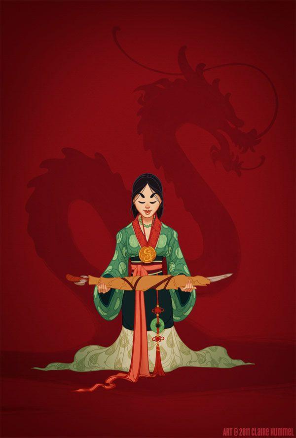 Mulan: com uma roupa tradicional da etnia Han na China, antes da Dinastia de Qing