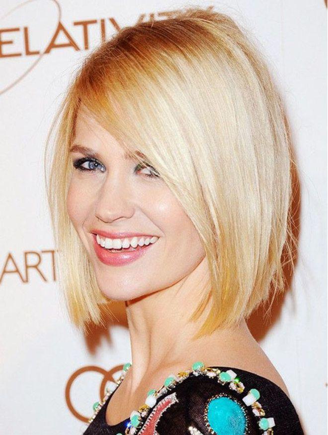 Tagli capelli folti: bob sfilato liscio con frangia laterale