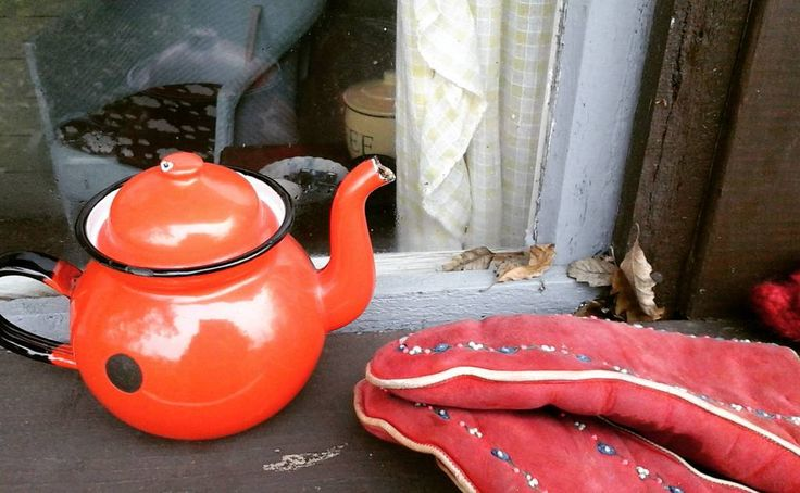 The allotment  tea pot and the warmest gloves in all the land Mr bod calls them my oven gloves . Happy jolly Sunday to ya x