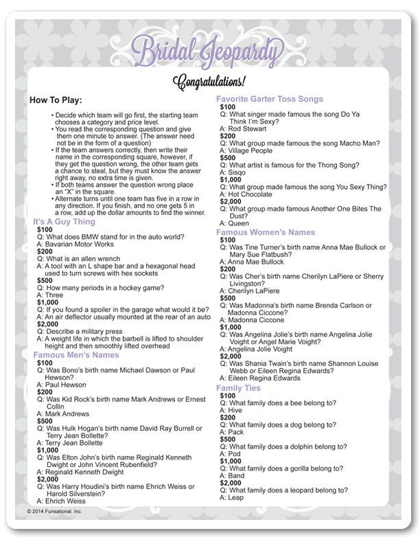 Bridal Shower Jeopardy Game Questions Yahoo Image Search Results