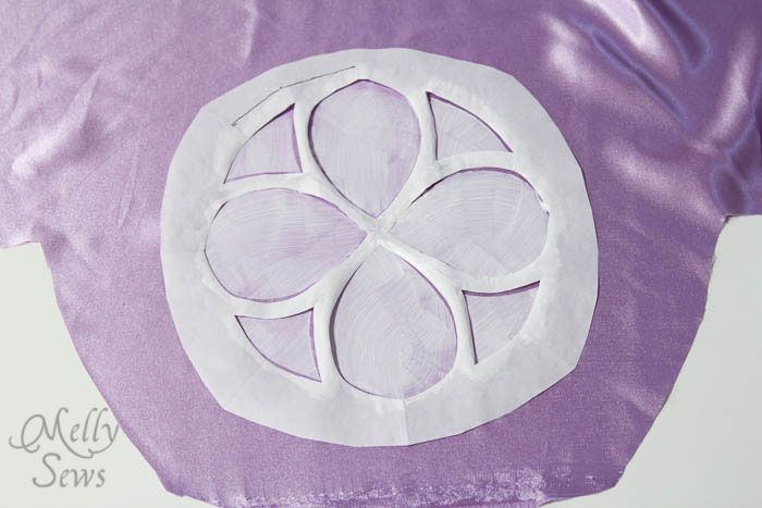 Freezer paper stenciling on Inspired by Princess Sofia the First Dress Tutorial - Melly Sews