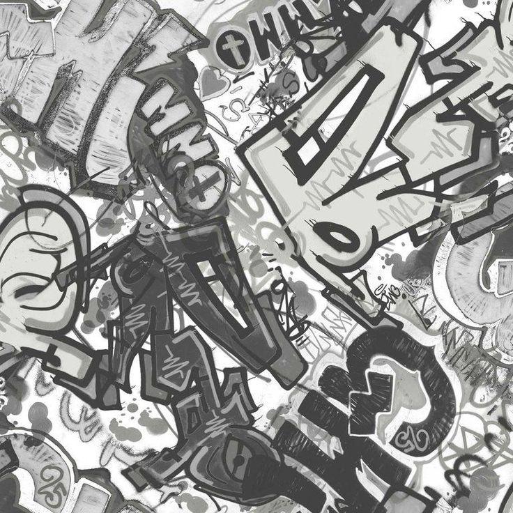 Jugendzimmer Vlies Tapete Smita WHATu0027S UP? WU17641 Graffiti Schwarz Weiß  Grau In Heimwerker, Farben