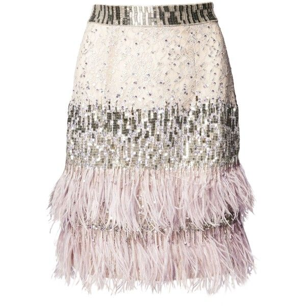 Silver Lace Beaded Feather Skirt ($1,925) ❤ liked on Polyvore featuring skirts, pink lace skirt, knee length lace skirt, pink skirt, feather skirt and silver skirt