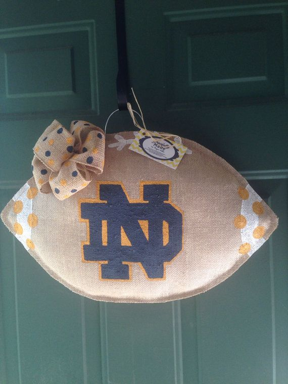 MADE TO ORDER - Notre Dame Burlap Football - Notre Dame Wreath - Burlap Door Hanger - Burlap Football, $31.00