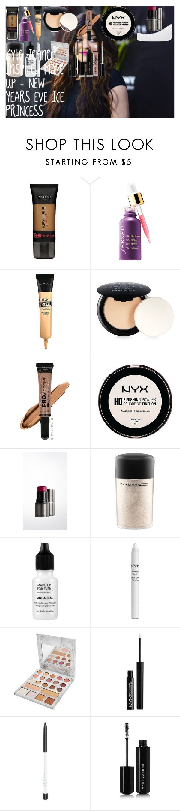 Kylie Jenner Inspired Make up - NEW YEARS EVE ICE PRINCESS by oroartye-1 on Polyvore featuring beauty, Burberry, Marc Jacobs, MAC Cosmetics, MAKE UP FOR EVER, BHCosmetics, L.A. Girl, NYX, L'Oréal Paris and Maybelline