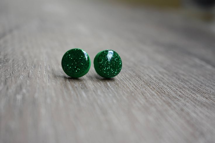 Clay glitter earrings, green earrings
