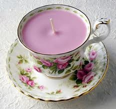 Candle in a teacup for a Victorian Violet Christmas.