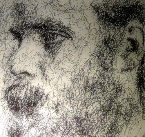 Portrait of Bonnie 'Prince' Billy. Ballpoint on paper.