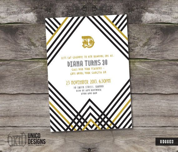 Roaring 20s / Gatsby Inspired / Invitation by UnicoDesignsInvites