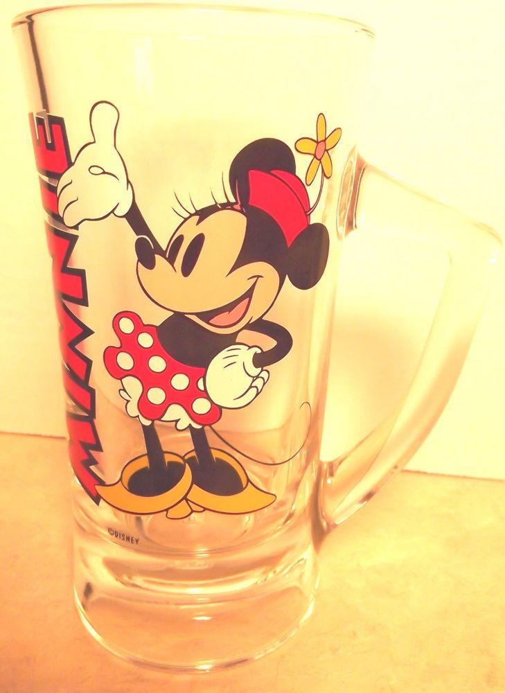MINNIE MOUSE Disney Clear Tall Mug Glass Minnie s Name and Minne NEW