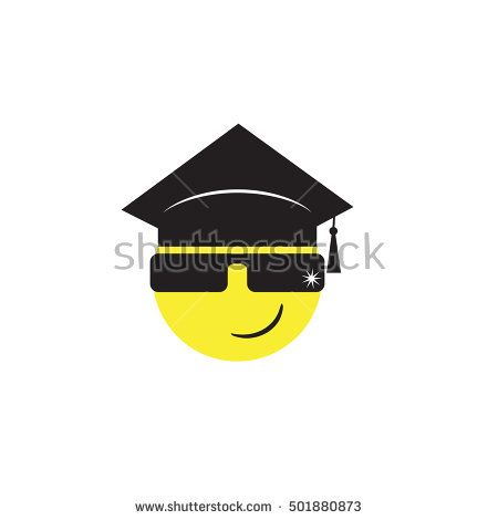 vector illustration of graduate emoticon