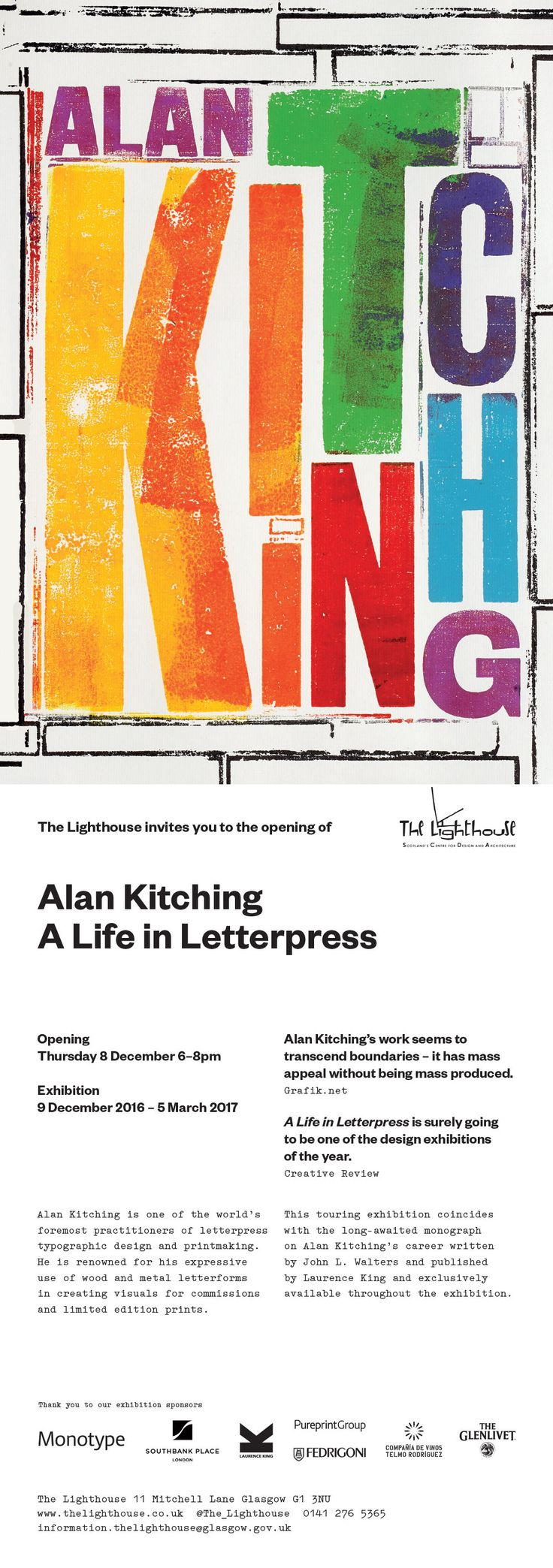 You are invited to the opening of Alan Kitching: A Life in Letterpress Exhibition