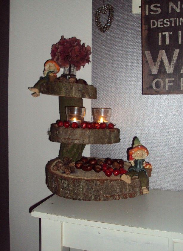 Etagere van plakken boom en stukjes boomstam. Nu als herfst etagere, straks in kerst sfeer en dan pasen en dan...... ;-) Moet er nog wat kalebassen en paddenstoeltjes bij zetten. Tis nu nog wat kaal