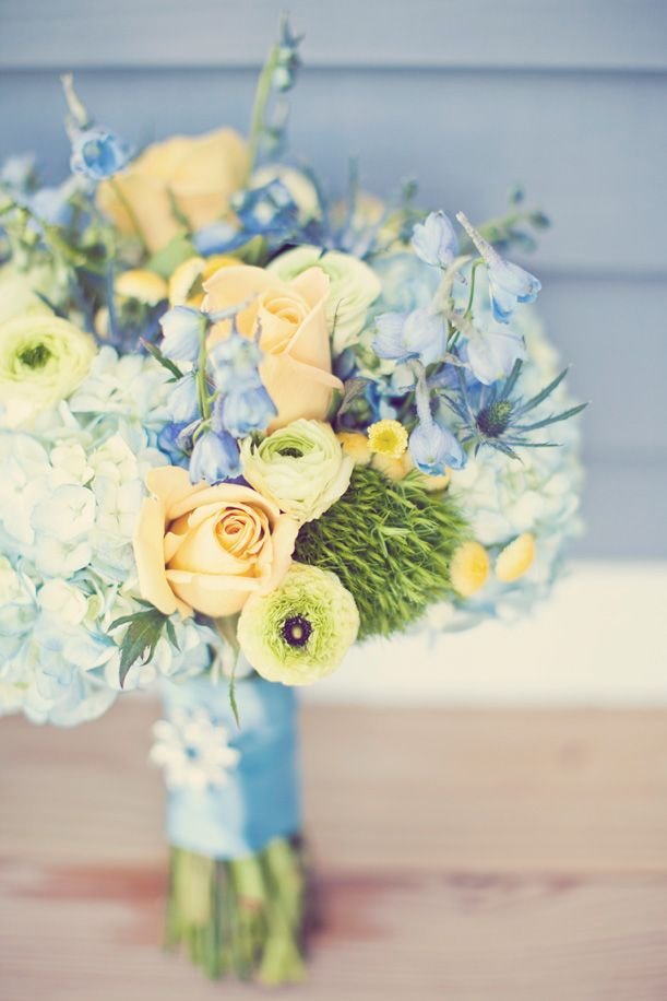 Gorgeous Blue U0026 Yellow Flowers From A Door County Wedding.