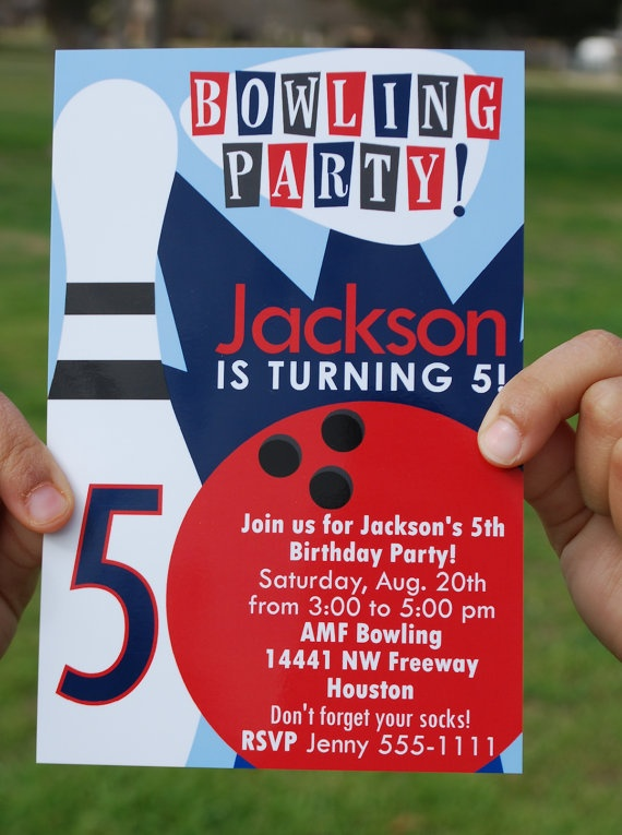 Printable Bowling Party Invitation by LittleMissCustom on Etsy, $8.00