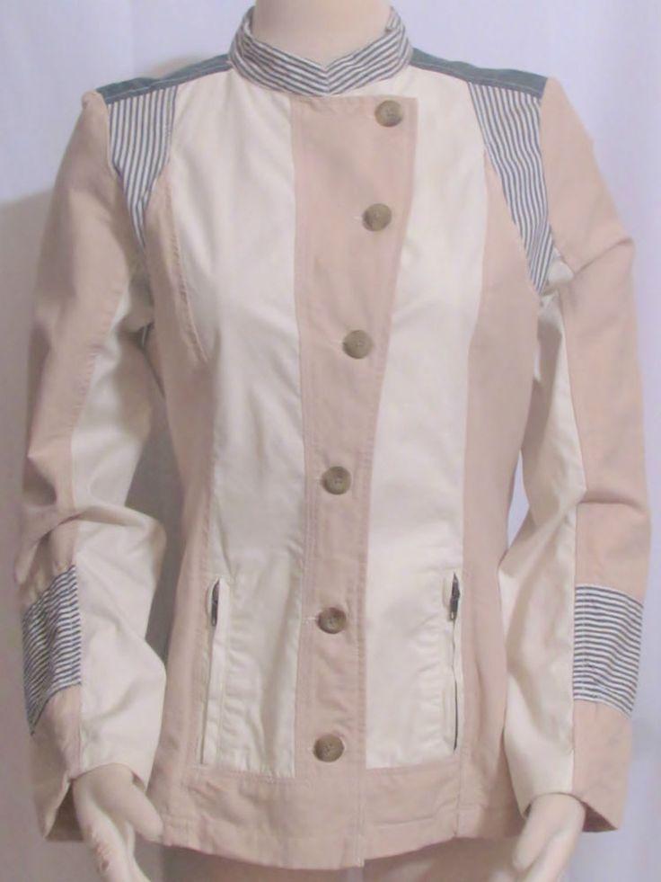 Womens Ladies SUNDANCE Khaki & Denim Linen Cotton Casual Jacket 8 Orig $159! #Sundance #UniqueAccessoryJacket