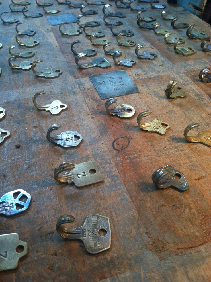Vintage keys made into nifty hooks.  Now I know why I've kept all my old keys!
