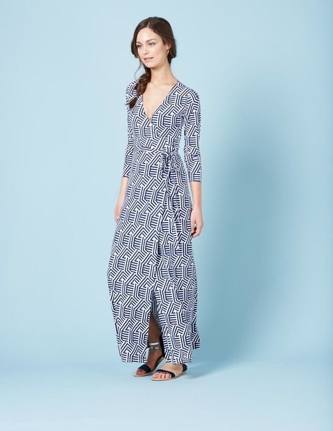 Wrap Maxi Dress WH966 Clothing at Boden - this would be so cute at knee-length. Love the pattern, but the length will make me look like I'm playing dressup.