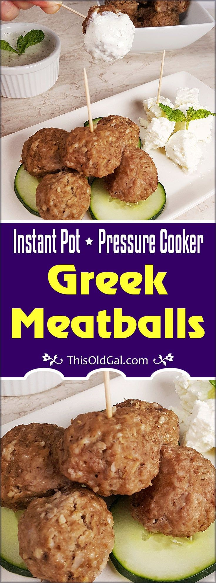 The aroma of Cinnamon, Mint, Cumin from these Pressure Cooker Greek Meatballs {Keftedes} will have your mouth watering and your tummy growling.     via @thisoldgalcooks