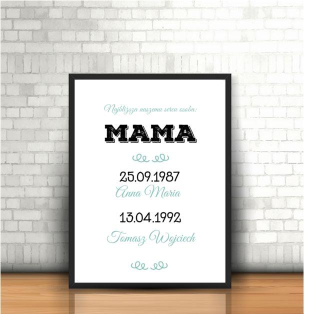 Prezent dla mamy, który sprawi, że poczuje się wyjątkowa i bardzo nam bliska. Imiona oraz daty narodzin jej dzieci, to słowa i liczby niemal magiczne.  **Grafika doskonale sprawdzi się jako...