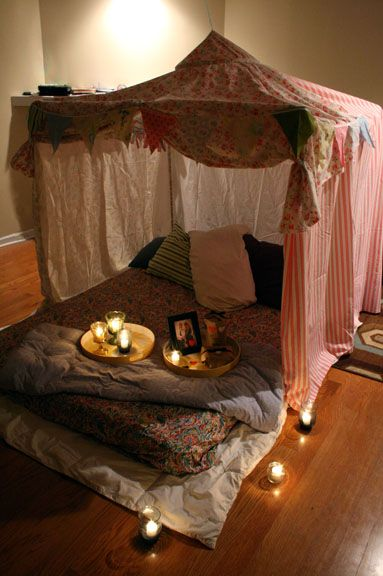 Blanket fort! LOVE! Am SO doing this for my #1 girl's room.