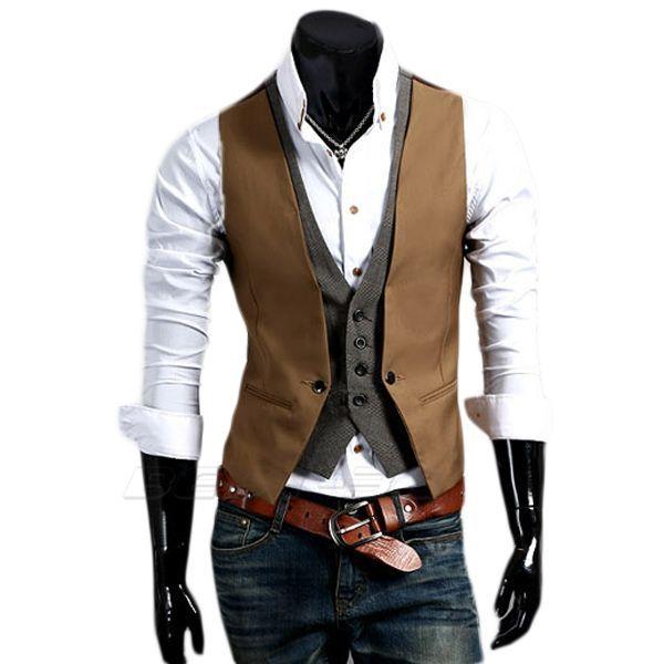 gilet panciotto giacca uomo slim fit bicolori ebay. Black Bedroom Furniture Sets. Home Design Ideas