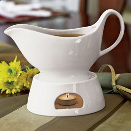 Gravy boat with warmer.