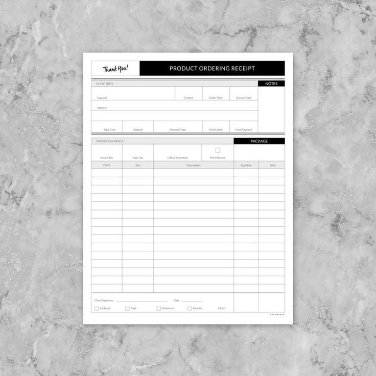 Photographer's: Print & Product Ordering Deliver a clear & detailed invoice to your clients duringproduct & print ordering.A professional, yet beautiful, printable receipt. Have your clients sign the bottom of the form acknowledging responsibility prior to ordering goods. Owning your business is all about being organized and Colorvale® has the solutions for you! This is a weekly planning schedule. This… - https://colorvaleactions.com/shop/print-product-ordering-receipt?utm_content=buffer44af…
