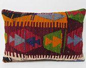16x24 style kilim pillow tapestry lumbar pillow throw pillow couch sofa pillow sham floor pillow case contemporary pillow red pillow 28606