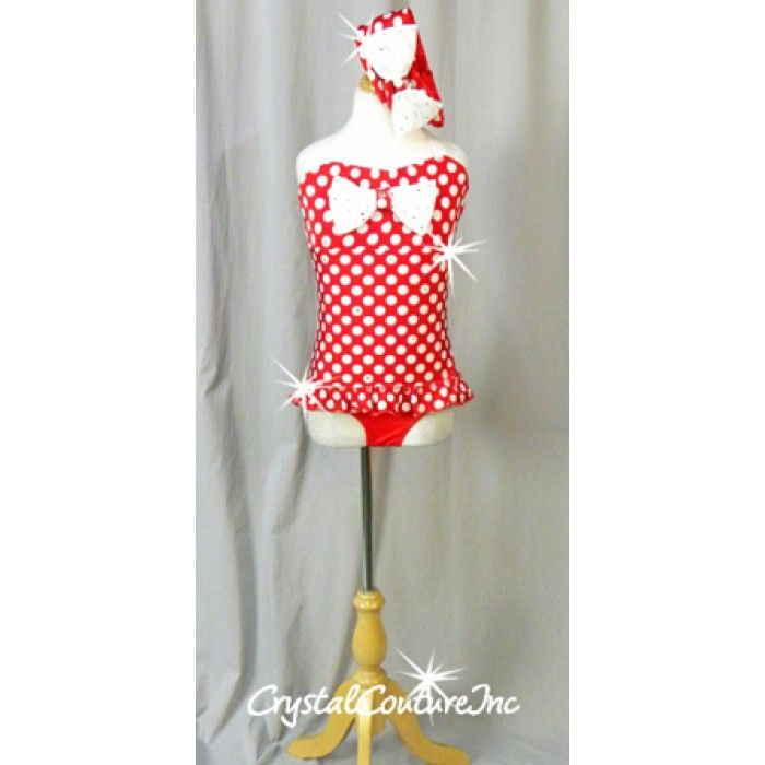 Red and White Polka Dot Dress/Red Leotard - Swarovski Rhinestones - Size YM