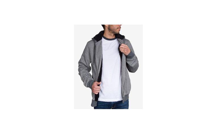Jem Mens Marled Zip Up Sherpa-Lined Fleece Hoodie for $9.96 at Macys