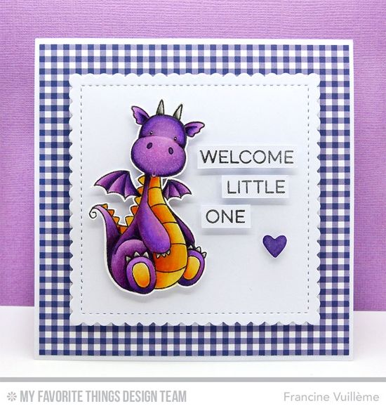 Essential Sentiments, Magical Dragons Stamp Set and Die-namics, Stitched Mini Scallop Square STAX Die-namics, Tag Builder Blueprints 5 Die-namics - Francine Vuillème #mftstamps