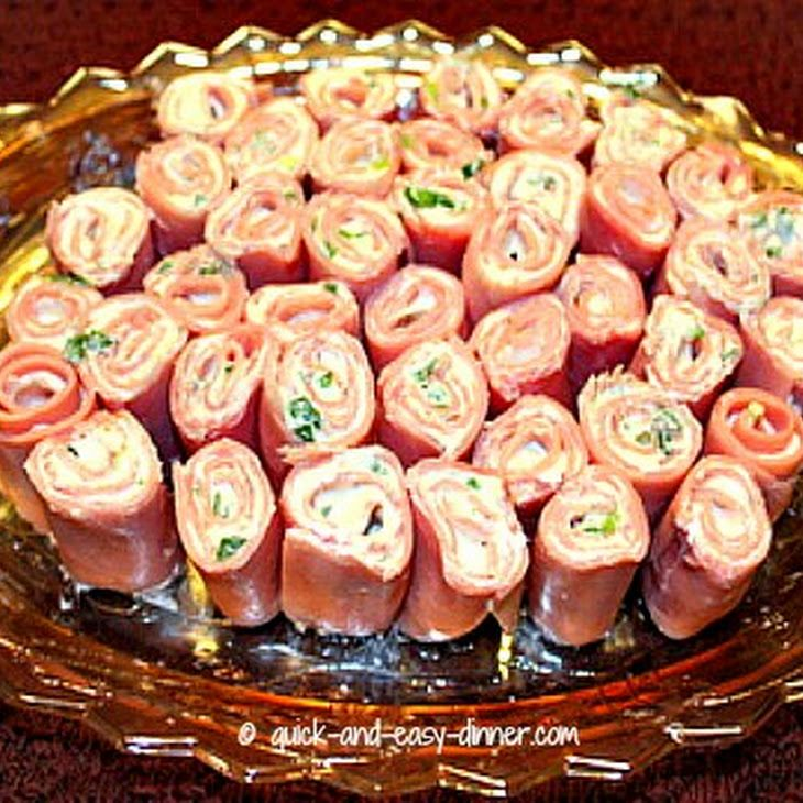 Ham Roll Up Recipe Appetizers with sliced ham, cream cheese, green onions, garlic powder, accent