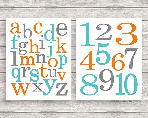 Teal Orange and Grey Printable Alphabet and Numbers Nursery Wall Décor, Printable Nursery Art, Alphabet Art, Baby Boy Room Decor Instant