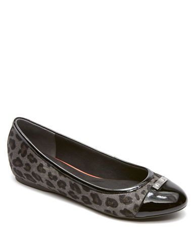 Rockport Total Motion H Wedge Hair Calf Flats Grey Leopard