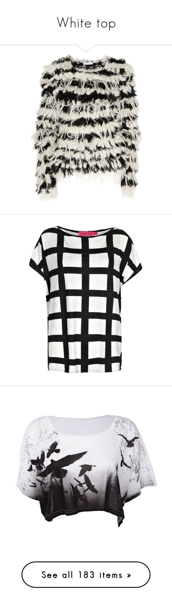 """""""White top"""" by tiffaninorway ❤ liked on Polyvore featuring tops, sweaters, jumpers, outerwear, black and white top, black white sweater, black white top, chunky knit sweater, black and white jumper and t-shirts"""