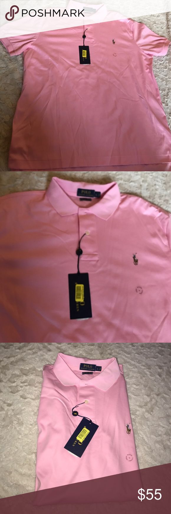 NWT Polo Ralph Lauren Men's Shirt L Size Large  New with tags  My prices are firm and fair 100% Pima Soft Touch Cotton  Color Light Pink I guarantee authentication of this shirt.  I can make you a bundle to save money on shipping cost So please check my other items.  Code : MA Polo by Ralph Lauren Shirts Polos
