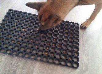 Alfombrilla de plástico con golosinas dentro para perros