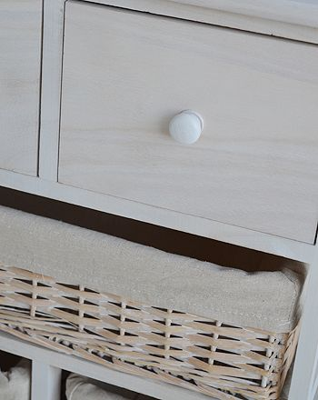 Cape Cod White Wash Storage Furniture With Six Drawers, 4baskets