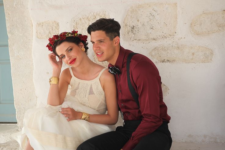 Hellenic Vintage collection. Mod Antheia made of cotton lace with impeccable craftsmanship and unique handmade detailed embroidery.Red flower crown.. Suit by Atelier Zolotas - Gentlemen Experts collection