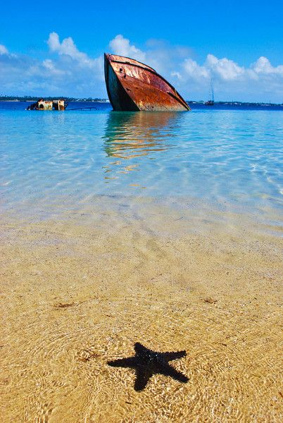 Snorkeling around a shipwreck off Pangaimotu Island, Tonga - Everything's closed on the main island of Tonga on Sundays so offshore islands like Pangaimotu are  the place to be!