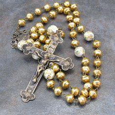 Rosary with Marigold Pearls & Vintage Prayer Beads