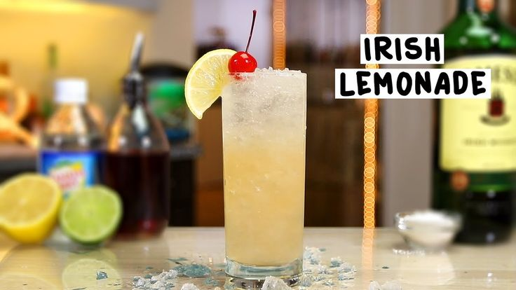 IRISH LEMONADE 2 oz. (60ml) Irish Whiskey 1 oz. (30ml) Lemon Juice 1 oz. (30ml) Lime Juice Splash Grenadine 1 Tbsp Caster Sugar Club Soda Garnish: Lemon Wheel/Cherry  PREPARATION 1. Add ice, irish whiskey, lemon juice, lime juice, grenadine and sugar to shaking glass and shake well.  2. Add crushed ice to serving glass and strain mix over. Top with club soda.  3. Garnish with a cherry. DRINK RESPONSIBLY!