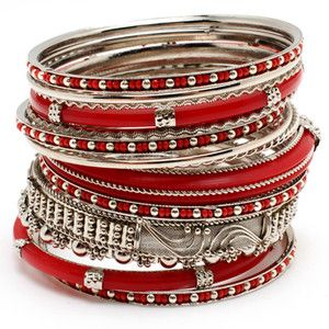 Red & Silver Stacked Bangles :)