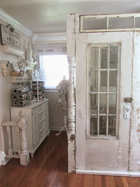 Salvaged Doors, Windows And Trim Are Used To Divide A Room   Junk Chic  Cottage