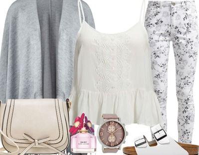 Ga voor een lieve outfit met als basis grijs. grijs is niet alleen super voor de winter, maar ook voor de zomer. Voeg lekker veel wit toe, voor een fris effect. Is een gebloemde broek iets te lief/schattig voor jou? Maak jouw look dan compleet met een paar birkenstocks voor een stoere touch.